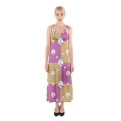 Symbol Peace Drawing Pattern  Sleeveless Maxi Dress
