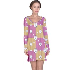 Symbol Peace Drawing Pattern  Long Sleeve Nightdress