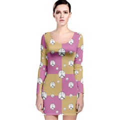 Symbol Peace Drawing Pattern  Long Sleeve Velvet Bodycon Dress