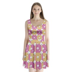 Symbol Peace Drawing Pattern  Split Back Mini Dress
