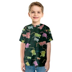 Mouse Pattern Design Cute Kids  Sport Mesh Tee