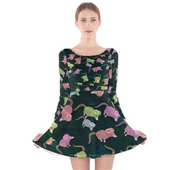 Mouse Pattern Design Cute Long Sleeve Velvet Skater Dress