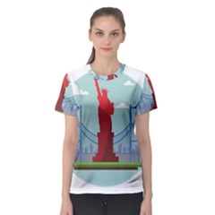 New York Usa Liberty Landmark Women s Sport Mesh Tee