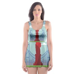 New York Usa Liberty Landmark Skater Dress Swimsuit