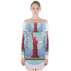 New York Usa Liberty Landmark Long Sleeve Off Shoulder Dress