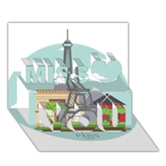 Paris France French Europe Travel Miss You 3D Greeting Card (7x5)