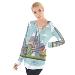 Paris France French Europe Travel Women s Tie Up Tee