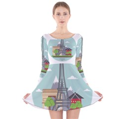 Paris France French Europe Travel Long Sleeve Velvet Skater Dress