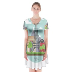 Paris France French Europe Travel Short Sleeve V-neck Flare Dress