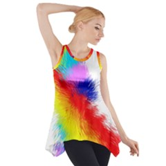 Particles Color Colorful Wave Side Drop Tank Tunic
