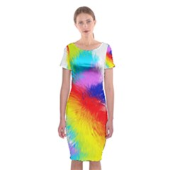 Particles Color Colorful Wave Classic Short Sleeve Midi Dress
