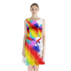 Particles Color Colorful Wave Sleeveless Chiffon Waist Tie Dress