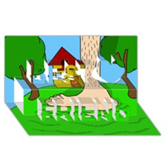 Giant foot Best Friends 3D Greeting Card (8x4)