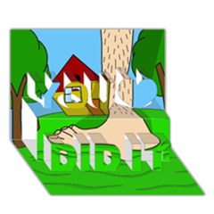 Giant foot You Did It 3D Greeting Card (7x5)