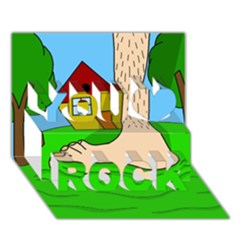 Giant foot You Rock 3D Greeting Card (7x5)