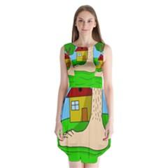 Giant Foot Sleeveless Chiffon Dress