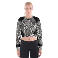 Pattern Motif Decor Women s Cropped Sweatshirt
