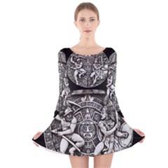 Pattern Motif Decor Long Sleeve Velvet Skater Dress