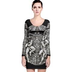 Pattern Motif Decor Long Sleeve Velvet Bodycon Dress