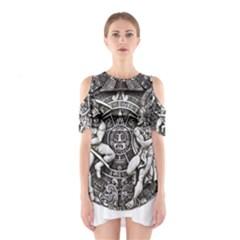 Pattern Motif Decor Cutout Shoulder Dress