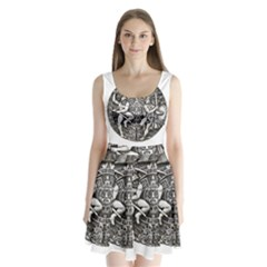 Pattern Motif Decor Split Back Mini Dress