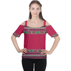 Pattern Ornaments Mexico Cheerful Women s Cutout Shoulder Tee