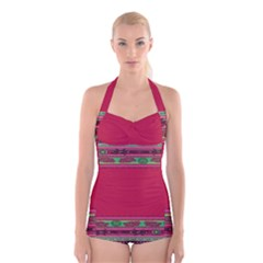 Pattern Ornaments Mexico Cheerful Boyleg Halter Swimsuit