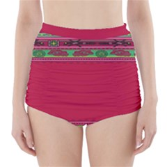 Pattern Ornaments Mexico Cheerful High-Waisted Bikini Bottoms