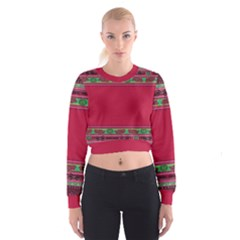Pattern Ornaments Mexico Cheerful Women s Cropped Sweatshirt