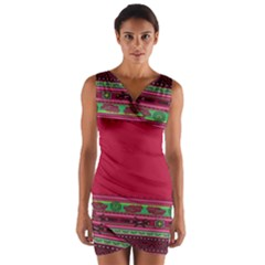 Pattern Ornaments Mexico Cheerful Wrap Front Bodycon Dress