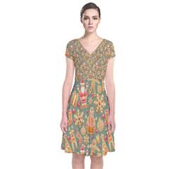 Pattern Seamless Gingerbread Short Sleeve Front Wrap Dress