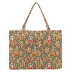 Pattern Seamless Gingerbread Medium Zipper Tote Bag