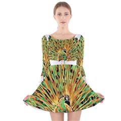 Peacock Bird Long Sleeve Velvet Skater Dress
