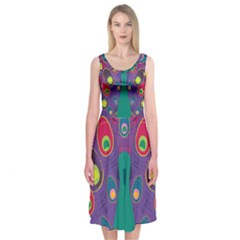 Peacock Bird Animal Feathers Midi Sleeveless Dress