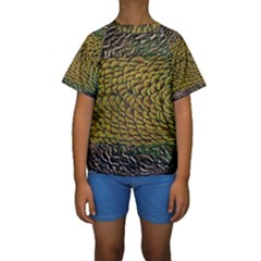 Peacock Bird Feather Color Kids  Short Sleeve Swimwear