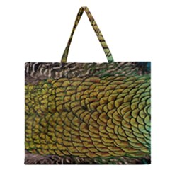 Peacock Bird Feather Color Zipper Large Tote Bag