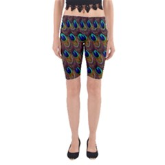 Peacock Feathers Bird Plumage Yoga Cropped Leggings