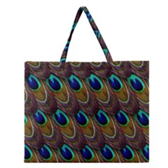 Peacock Feathers Bird Plumage Zipper Large Tote Bag