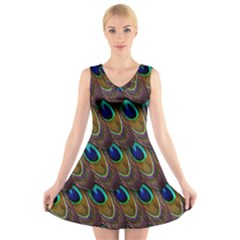 Peacock Feathers Bird Plumage V-Neck Sleeveless Skater Dress