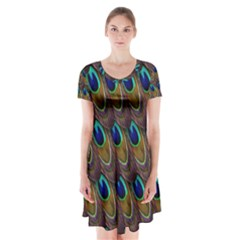 Peacock Feathers Bird Plumage Short Sleeve V-neck Flare Dress