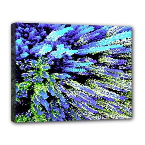 Colorful Floral Art Canvas 14  x 11