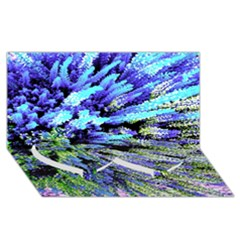 Colorful Floral Art Twin Heart Bottom 3D Greeting Card (8x4)