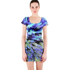 Colorful Floral Art Short Sleeve Bodycon Dress