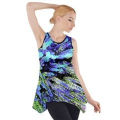 Colorful Floral Art Side Drop Tank Tunic