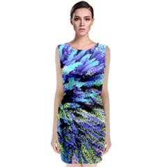 Colorful Floral Art Classic Sleeveless Midi Dress
