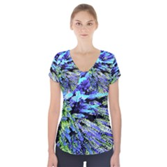Colorful Floral Art Short Sleeve Front Detail Top