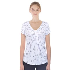 Silver Hearts Confetti Short Sleeve Front Detail Top