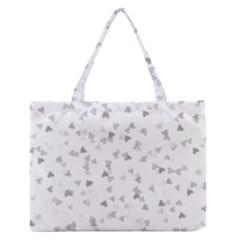 Silver Hearts Confetti Medium Zipper Tote Bag