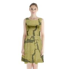 Stylish Gold Stone Sleeveless Chiffon Waist Tie Dress