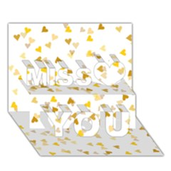 Gold Hearts Confetti Miss You 3D Greeting Card (7x5)